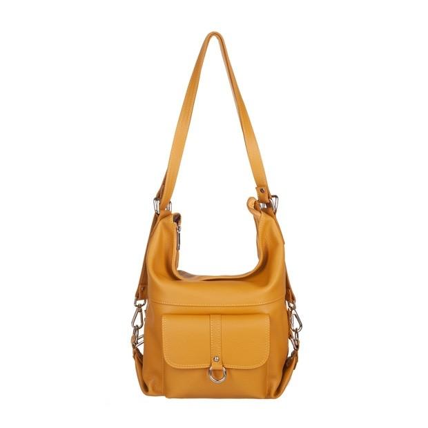 Włoska skórzana torebka - plecak 2w1 żółta (5114)
