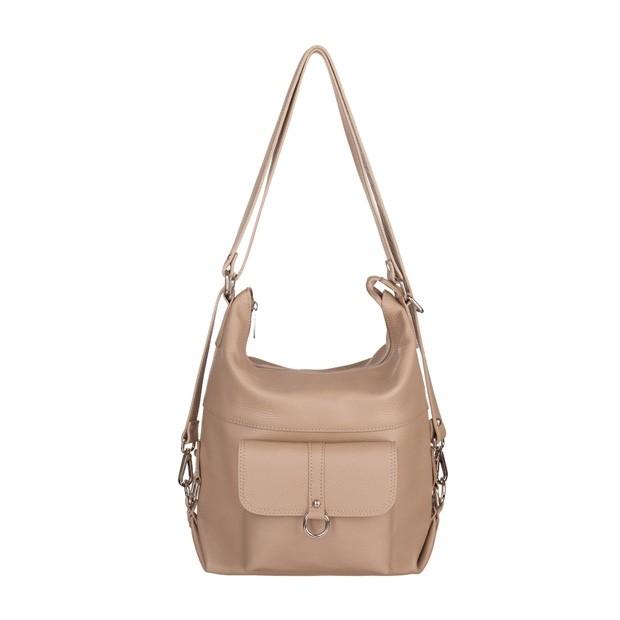 Włoska skórzana torebka - plecak 2w1 beżowa (5115)
