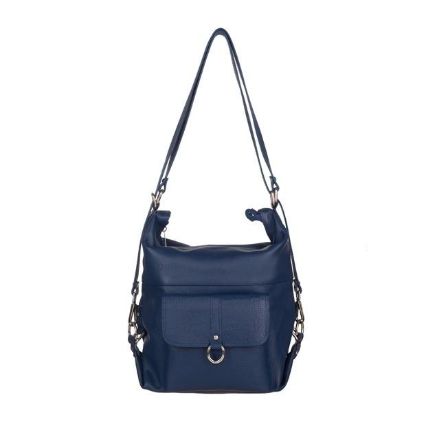 Włoska skórzana torebka - plecak 2w1 niebieska (5116)