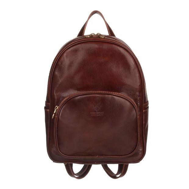 Włoski skórzany plecak ciemny brąz (5129)