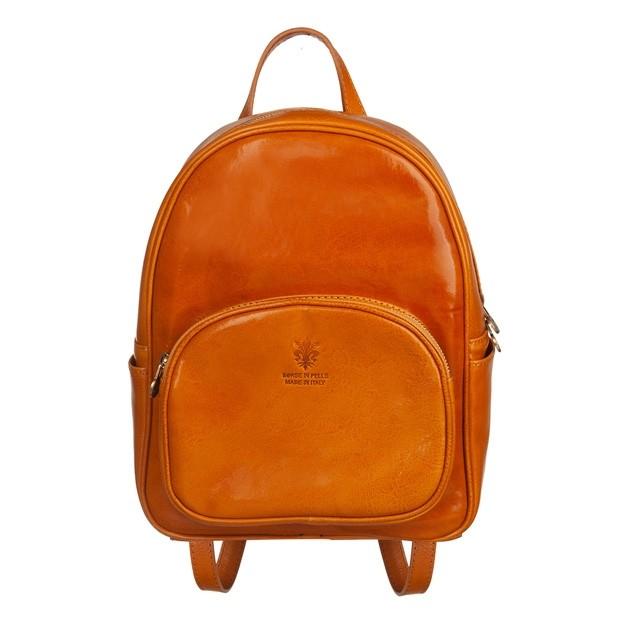 Włoski skórzany plecak żółty (5130)