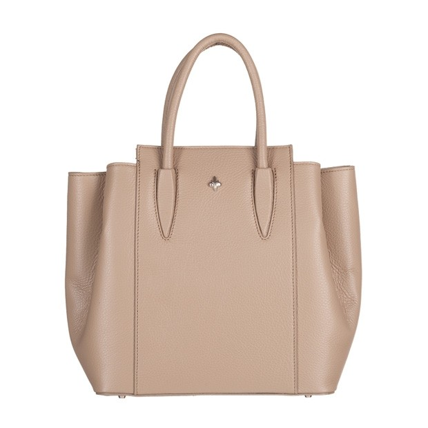Włoska torebka kuferek trzykomorowy skóra dolaro beżowy (5139)