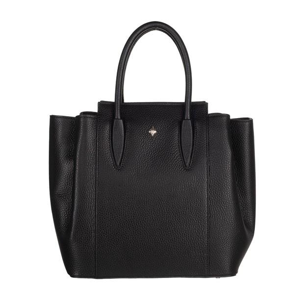 Włoska torebka kuferek trzykomorowy skóra dolaro czarny (5140)