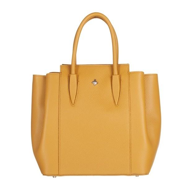 Włoska torebka kuferek trzykomorowy skóra dolaro żółty (5142)