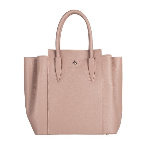 Włoska torebka kuferek trzykomorowy skóra dolaro różowy (5144)