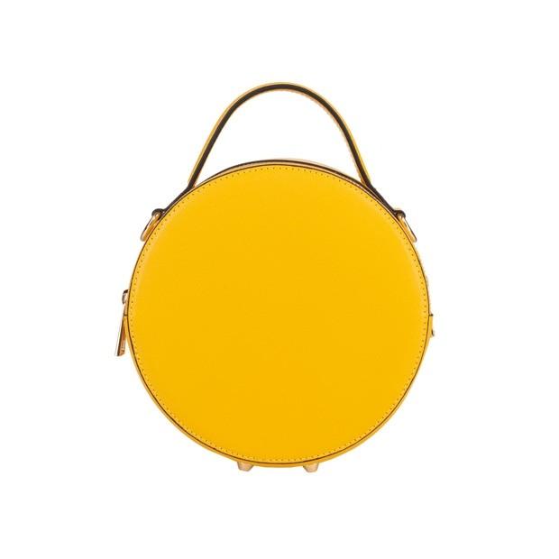 Włoska listonoszka skóra saffiano żółta (5159)