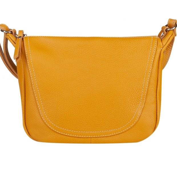 Włoska duża torebka listonoszka skóra dolaro żółta (5163)