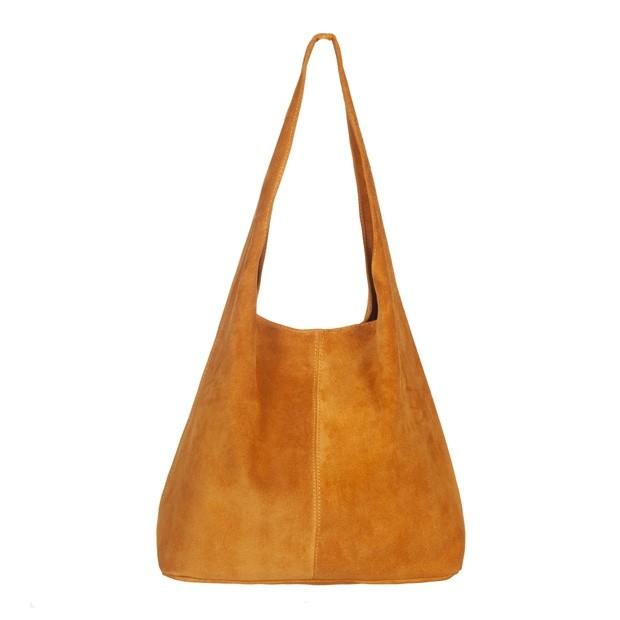 Włoska torebka worek zamsz naturalny żółta (5164)