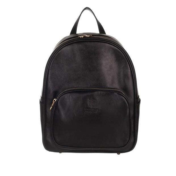 Włoski skórzany plecak czarny (5174)