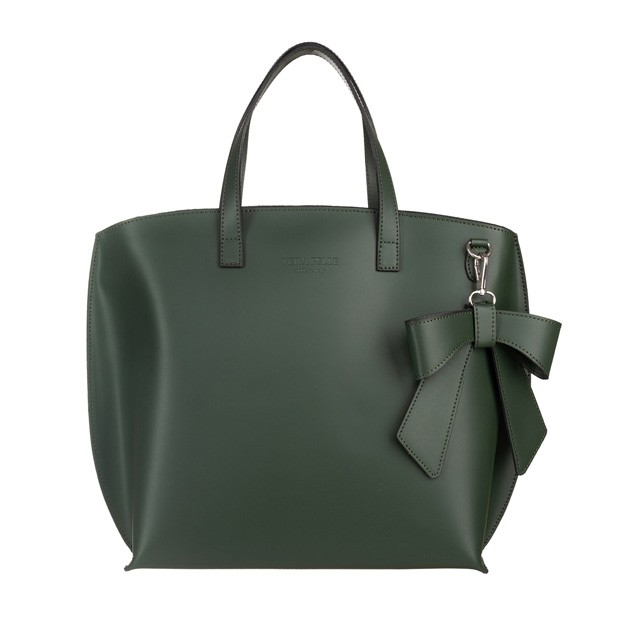 Vera Pelle - Włoska duża torebka matowa skóra zielona (5184)