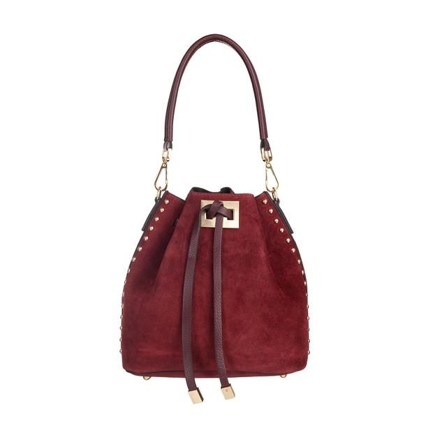 Włoska torebka mały worek zamsz dżety bordowa (5185)