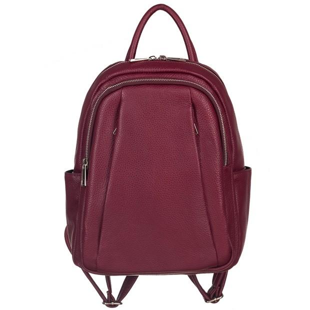 Włoski plecak z kieszeniami skóra dolaro bordowy (5187)