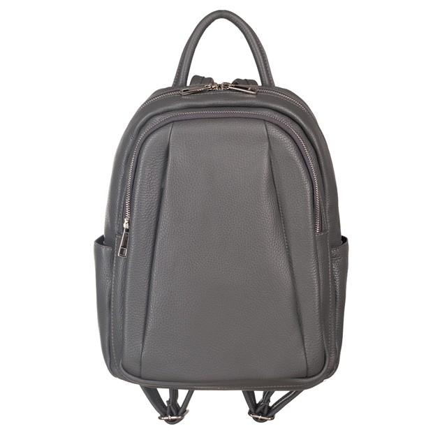 Włoski plecak z kieszeniami skóra dolaro grafitowy (5189)