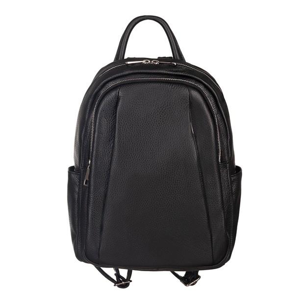 Włoski plecak z kieszeniami skóra dolaro czarny (5190)