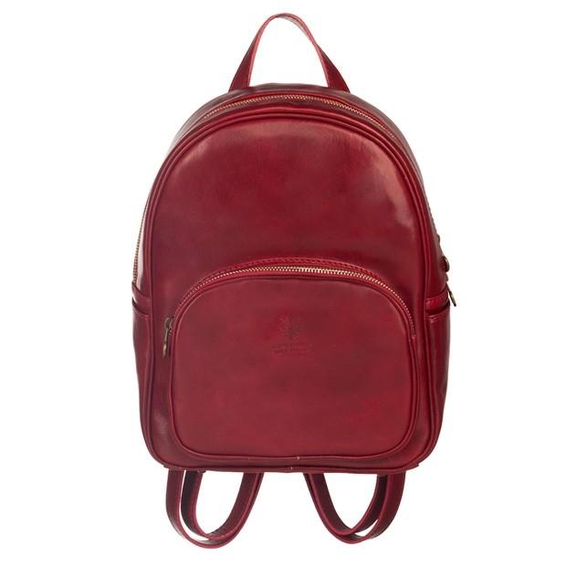 Włoski skórzany plecak bordowy (5191)