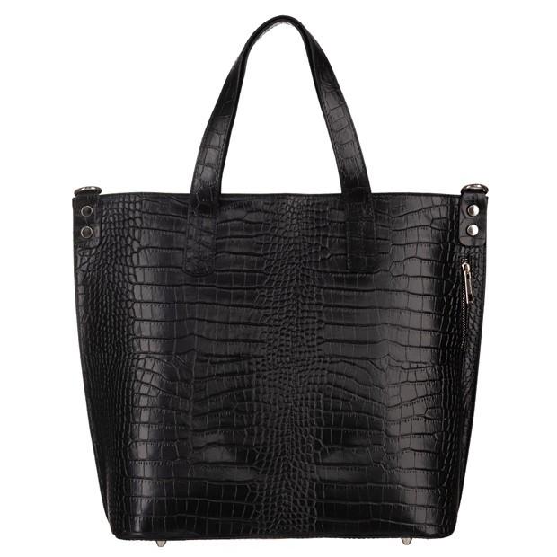 Włoska skórzana duża klasyczna torebka A4 krokodyl czarna (5215)