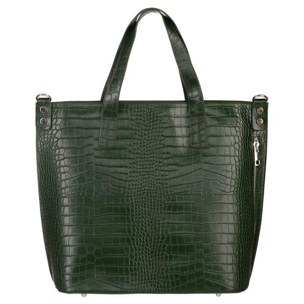 Włoska skórzana duża klasyczna torebka A4 krokodyl zielona (5216)