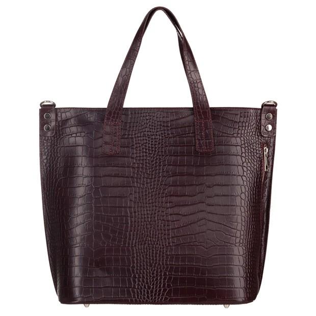 Włoska skórzana duża klasyczna torebka A4 krokodyl bordowa (5217)