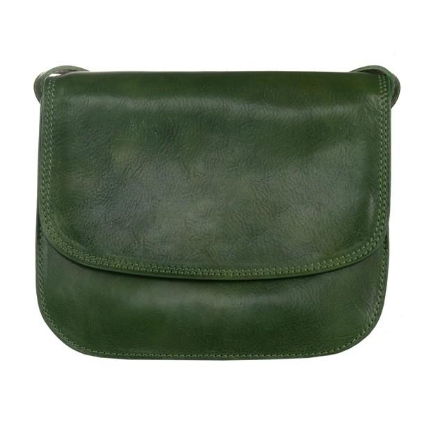 Włoska duża trzykomorowa skórzana torebka listonoszka zielona (5221)