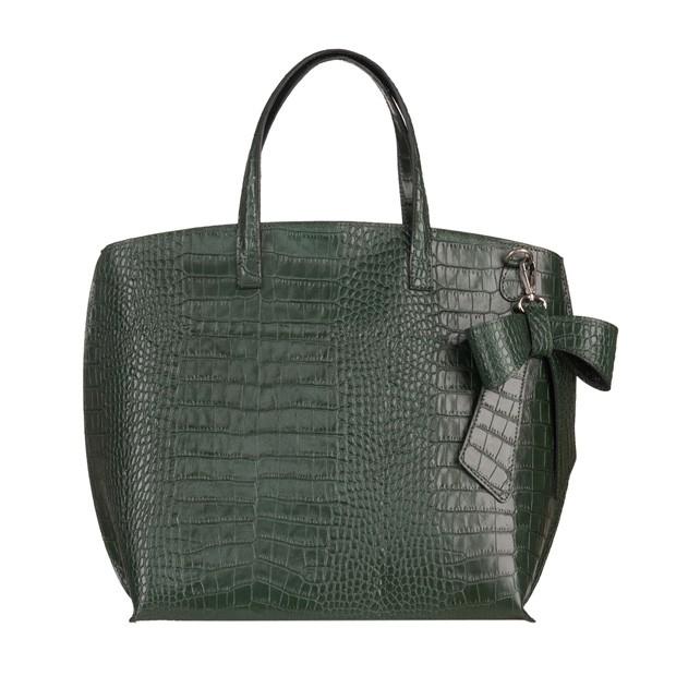 Włoska duża torebka matowa skóra krokodyl zielona (5226)