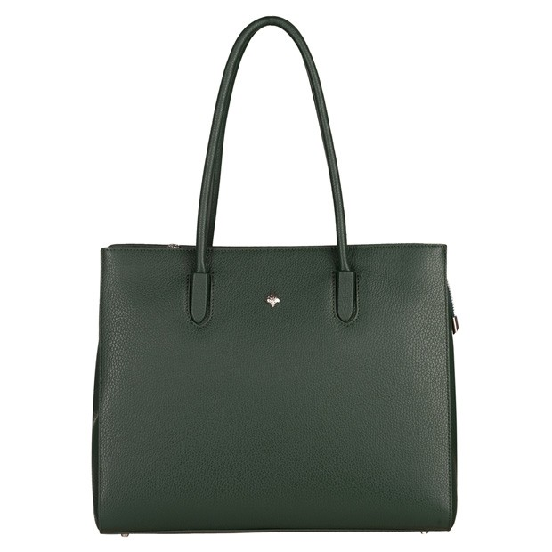 Włoska torebka kuferek skóra dolaro zielona (5230)