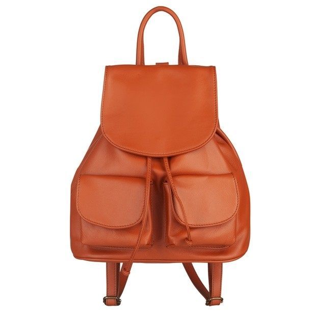 Włoski plecak skórzany z kieszeniami skóra camel (5237)