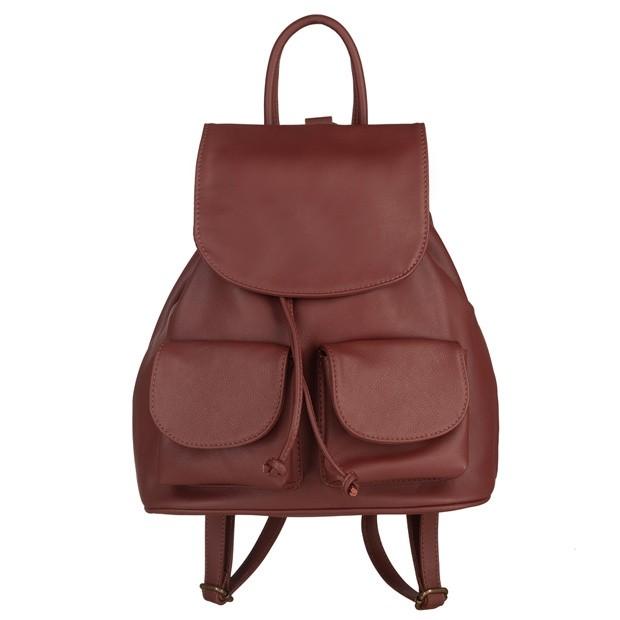 Włoski plecak skórzany z kieszeniami skóra brązowy (5238)