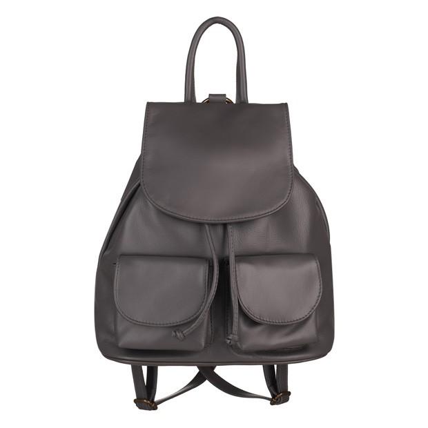 Włoski plecak skórzany z kieszeniami skóra grafitowy (5239)