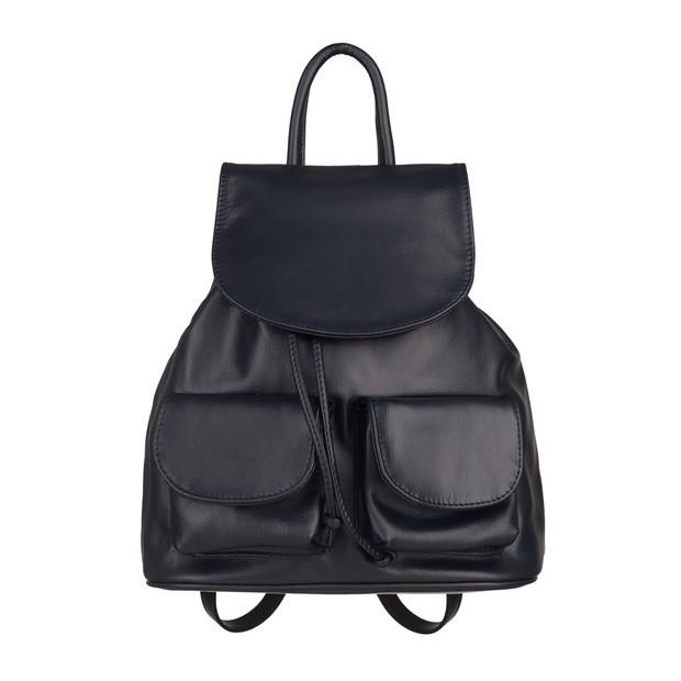 Włoski plecak skórzany z kieszeniami skóra granatowy (5240)