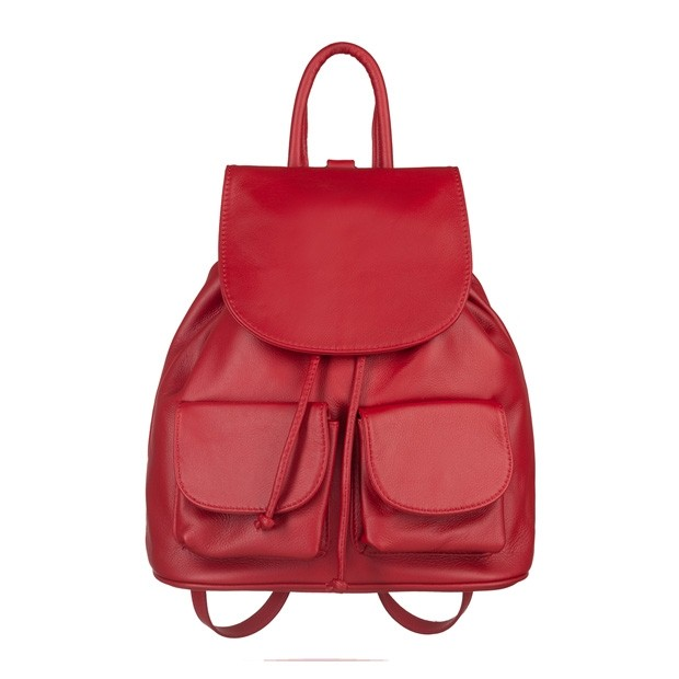 Włoski plecak skórzany z kieszeniami skóra czerwony (5241)