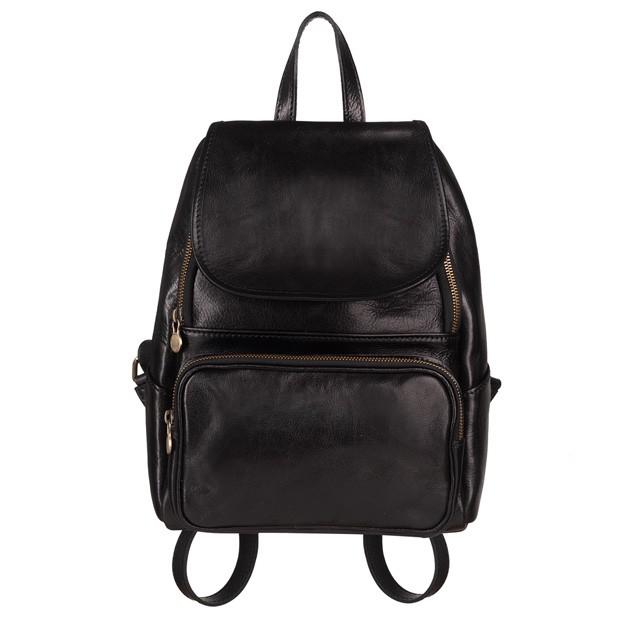 Włoski skórzany plecak czarny (5242)