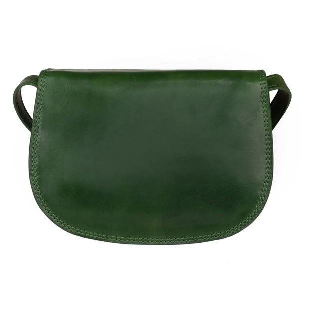 Włoska trzykomorowa skórzana torebka listonoszka zielona (5262)