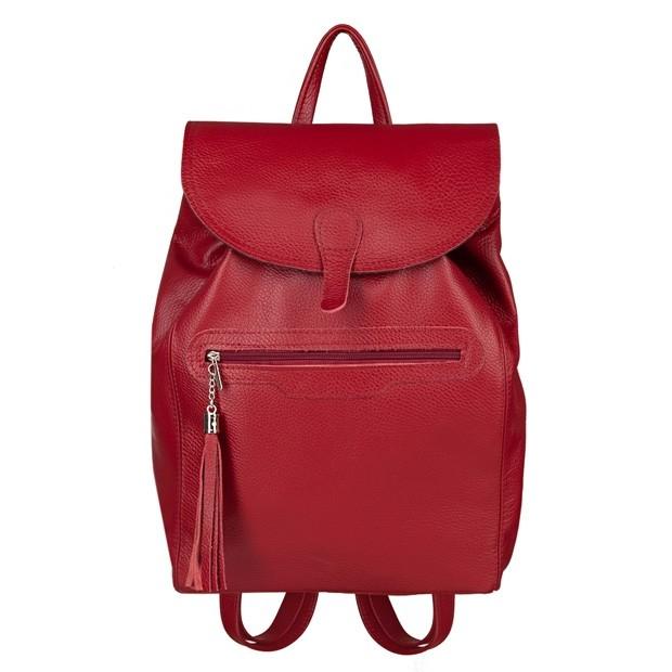 Skórzany plecak z frędzlami czerwony (5273)