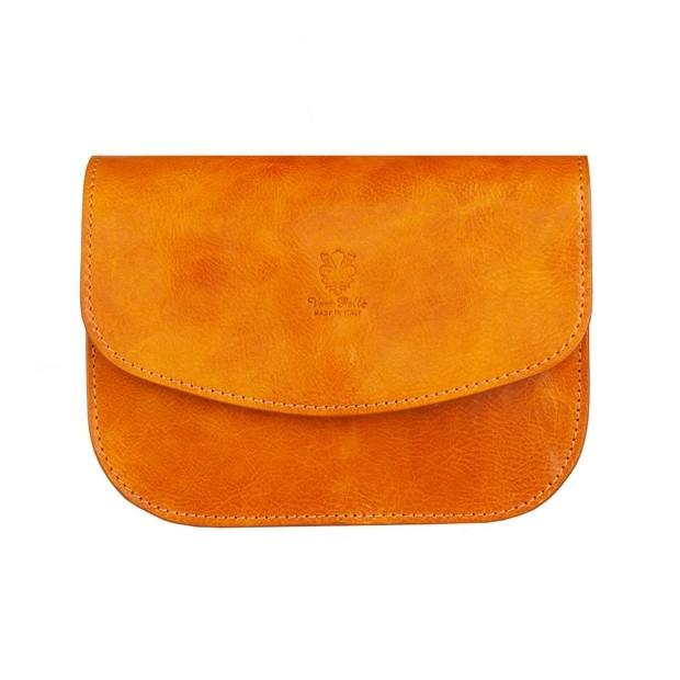 Vera Pelle - Włoska trzykomorowa skórzana torebka listonoszka żółta (5276)