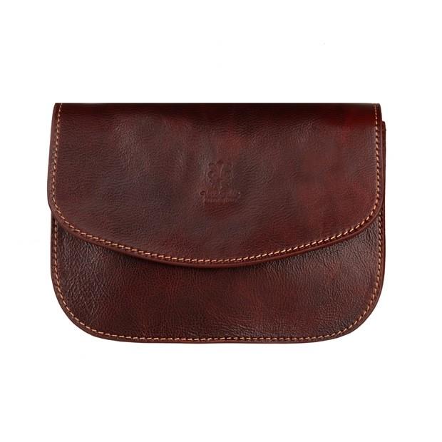 Vera Pelle - Włoska trzykomorowa skórzana torebka listonoszka ciemny brąz (5279)