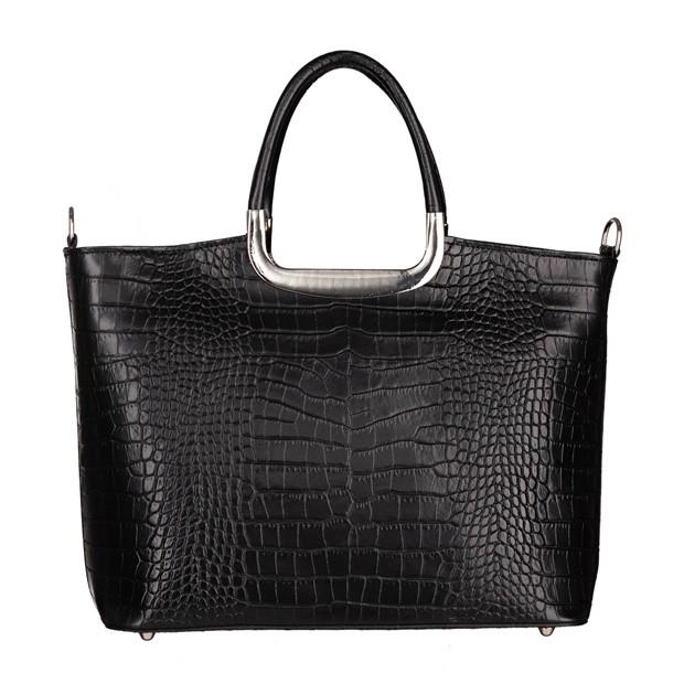 Klasyczna włoska torebka do ręki skóra krokodyl czarna (5285)