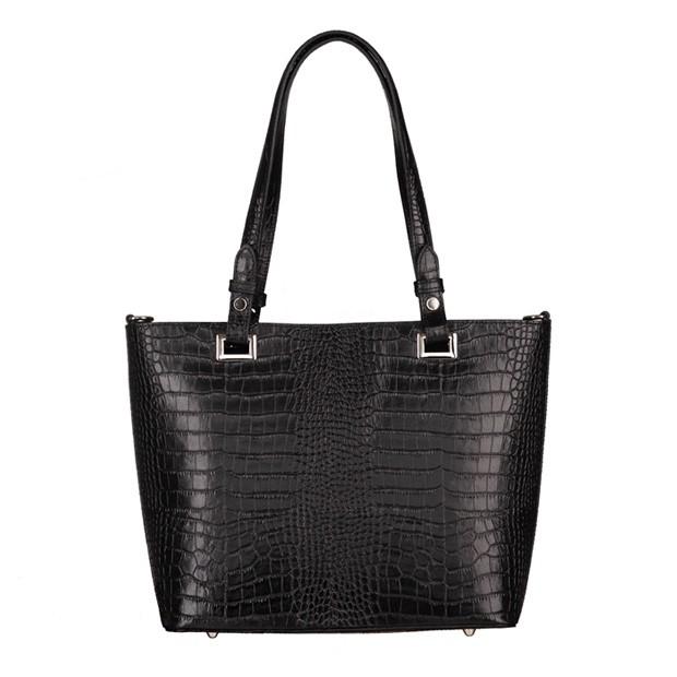 Włoska klasyczna torebka skóra krokodyl czarna (5286)