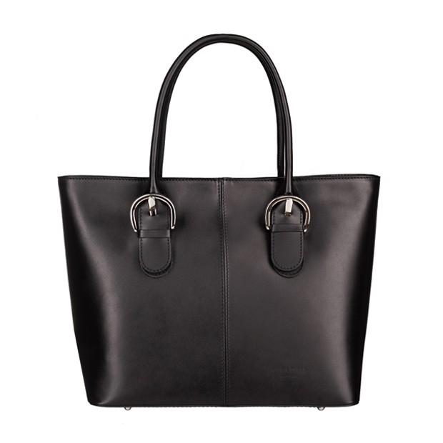 Włoska skórzana klasyczna torebka A4 czarna (5287)