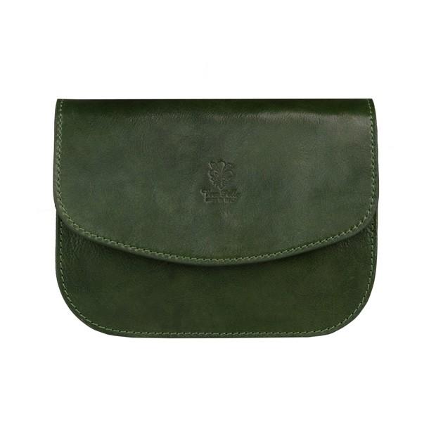 Vera Pelle - Włoska trzykomorowa skórzana torebka listonoszka zielona (5298)