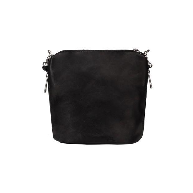 Włoska skórzana torebka listonoszka czarna (5299)