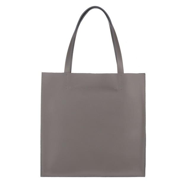 Włoska duża torebka shopper bag matowa skóra grafitowa (5301)