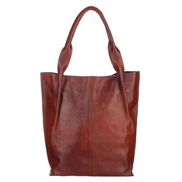 Skórzana torebka worek A4 miękka skóra zamek brązowa (5302)