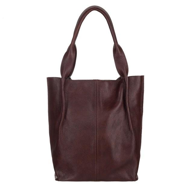 Skórzana torebka worek A4 miękka skóra zamek ciemny brąz (5303)