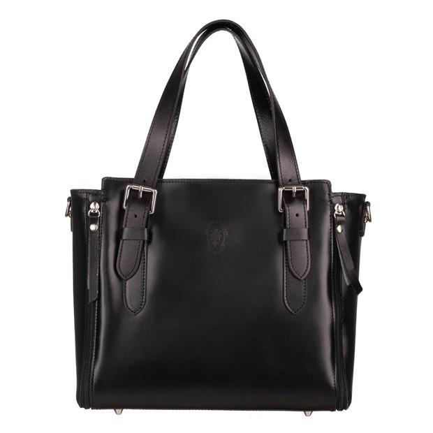 Vera Pelle - Włoska skórzana torebka kuferek czarny (5308)