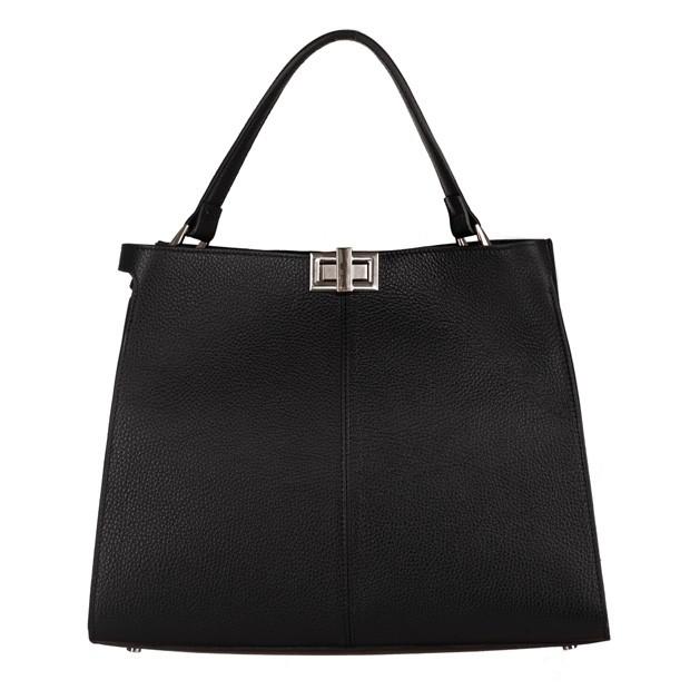 Włoska torebka kuferek skóra dolaro czarna (5316)