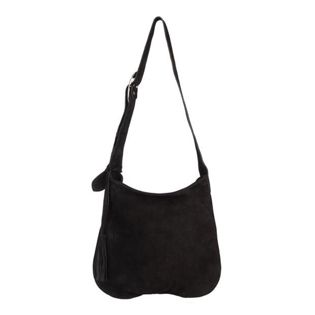 Włoska zamszowa torebka worek czarna (5324)