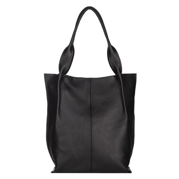 Skórzana torebka worek A4 miękka skóra zamek czarna (5337)