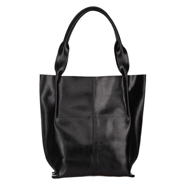 Skórzana torebka worek A4 miękka skóra z połyskiem na zamek czarna (5338)