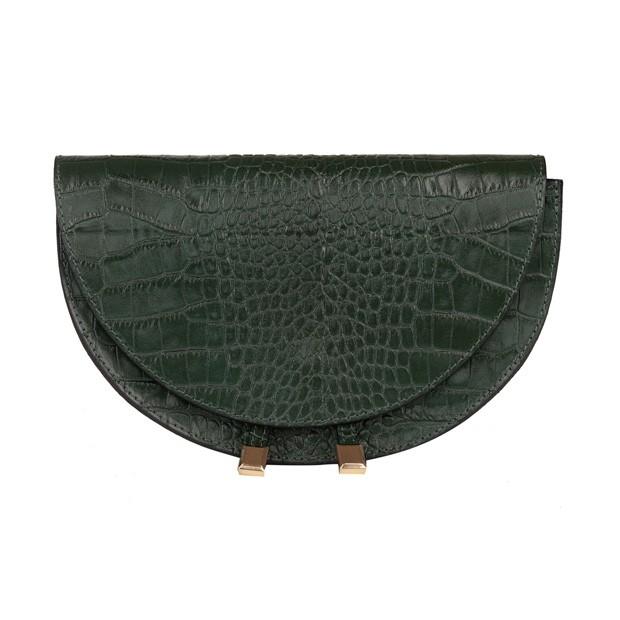 Włoska listonoszka skóra krokodyl zielona (5357)