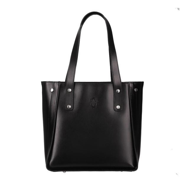 Włoska klasyczna torebka skórzana czarna (5364)